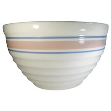 Large Vintage Beehive Ribbed Mixing Bowl Pink and Blue Banded