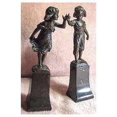 Pair of Patinated Bronze Sculptures Boy and Girl Listed Artist Paul Ludwig Kowalczewski