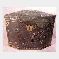 Lehn & Fink Baronet Brand Octagonal Shaped Tole Painted Hinged Tea Tin