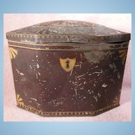 Lehn & Fink Baronet Brand Octagonal Shaped Tole Painted Hinged Tea Tin