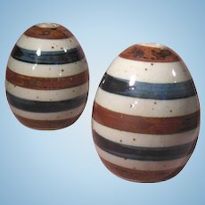 Striped Pottery Egg Shaped Salt and Pepper Shakers Japan Blue Brown Gray