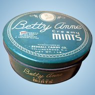 Vintage Betty Anne Creamy Mints Green Candy Tin Collingswood NJ