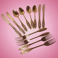 50 Piece Set Towle Supreme Cutlery Beaded Rose 24 Karat Gold Electroplate