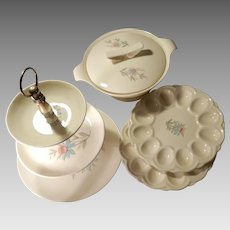Four Steubenville Fairlane Serving Pieces Tiered Server Covered Vegetable Bowl 2 Deviled Egg Plates