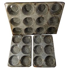 Three Old Gray Graniteware or Enamelware Muffin Pans or Tins