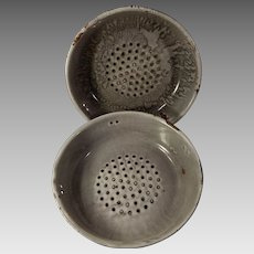 Two Old Gray Graniteware or Enamelware Strainers or Colanders