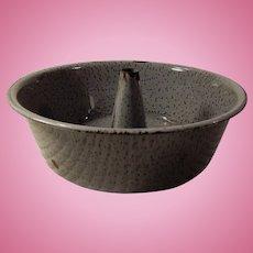 Old Gray Speckled Graniteware or Enamelware Bundt Cake Pan