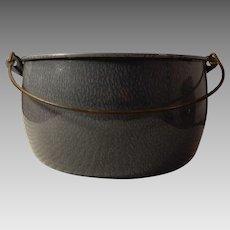 Old Gray Mottled Graniteware Enamelware Bail Handle Stock Pot