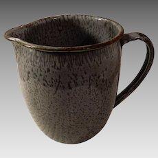 Old Gray Speckled Graniteware Enamelware Milk Pitcher