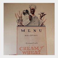 1919 Cream of Wheat Magazine Advertisement Breakfast Menu Edward V. Brewer