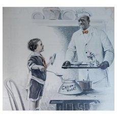 1917 Cream of Wheat Magazine Advertisement Cooking Mama's Breakfast Edward V. Brewer