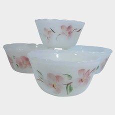 Set of Four Fire King Gay Fad Peach Blossom Custard Cups