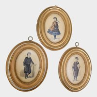 Set of Three Borghese Plaster Wall Plaques School Children