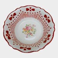Homer Laughlin Virginia Rose Mold Specialty Bowl Stenciled Hearts