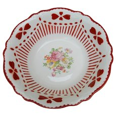 Homer Laughlin Virginia Rose Mold Specialty Bowl Stenciled Hearts