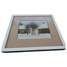 Pair of framed Jacques Deperthes Winter Country House Scenes