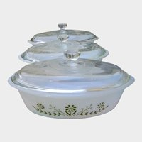 3 Glasbake Green Daisy Flower Casseroles or Dishes