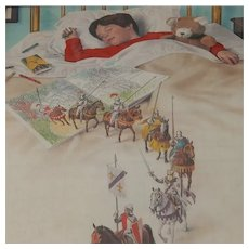 Vintage Crayola Crayons Print Sleeping Boy Knights on Horses