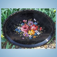 Beautiful Large Hand Painted Floral Tole Tray