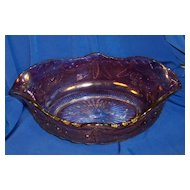 Amethyst Flashed Delaware Pattern Glass Fruit or Banana Bowl
