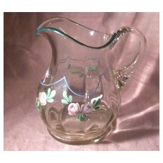 Early Hand Painted Floral Clear Glass Ribbed Pitcher