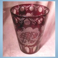Czech Bohemian Clear and Red Glass Vase Stag and Castle