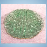 Green Early American Pattern Glass Plate Fans, Buttons, Arches Saw Tooth Edge