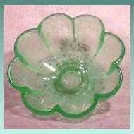 Footed Fluted Green Art Glass Bowl