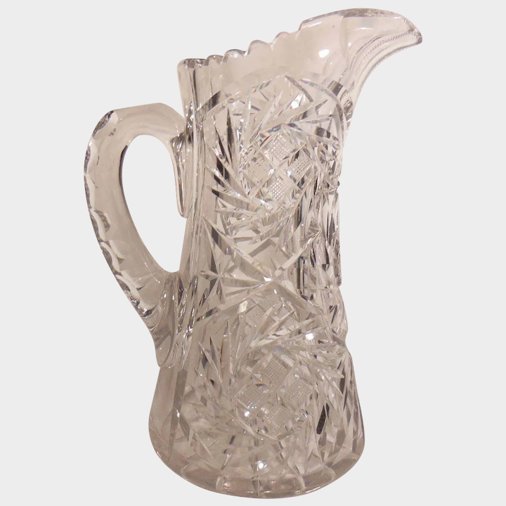 Tall Pressed Clear Glass Water Pitcher, Glass Water Jug With Spout