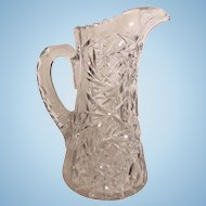 Tall Pressed Clear Glass Water Pitcher Diamond and Leaf Pattern