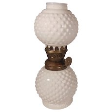 Small Vintage White Hobnail Milk Glass Oil Lamp Made in Hong Kong