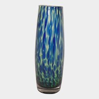 Dark Blue Medium Blue and Green Case Glass Vase