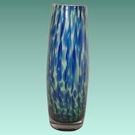 Dark Blue Medium Blue and Green Case Glass Vase