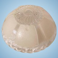Pair of Art Deco White and Clear Glass 3 Chain Ceiling Light Shade2
