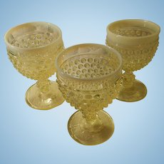 Three Early American Stamm House Hobnail Dewdrop Yellow Opalescent #1886 Goblets by Imperial Glass