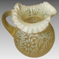 Fenton Yellow Topaz Ruffled Edge Opalescent Daisy and Fern Water Pitcher