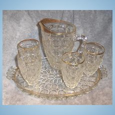 Jeannette Thumbprint Pattern Glass Pitcher and Glasses with Tray