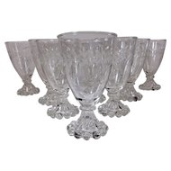 Set of Eleven Anchor Hocking Laurel Leaf Gray Cut Etched Juice/Wine Glasses AKA Boopie