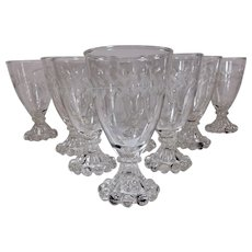 Set of Eleven Anchor Hocking Laurel Leaf Gray Cut Etched Juice/Wine Glasses AKA Boopie