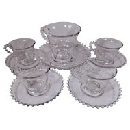 Set of 6 Imperial Glass Candlewick Cups and Saucers