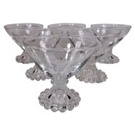 Set of Six Anchor Hocking Clear Boopie Champagne/Sherbet Glasses