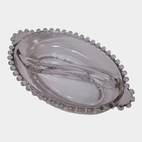 "Imperial Glass Candlewick 8"" Oval Divided Relish Dish with Tab Handles"