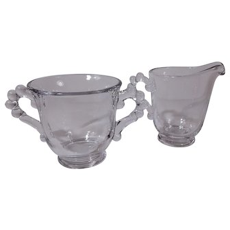 Imperial Glass Candlewick Footed Sugar and Creamer Set