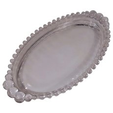 Imperial Glass Candlewick Oval Tray Graduated Beading 9 1/4""