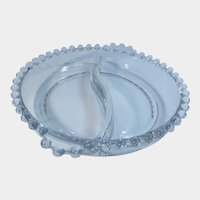 Imperial Glass Candlewick Round Divided Relish Dish with Tab Handles
