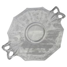 Fostoria Midnight Rose Etched Glass Handled Serving Tray