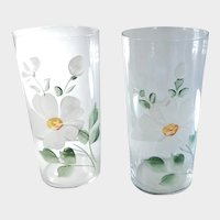 Vintage Hand Painted Floral Glass Iced Tea Tom Collins Tumblers