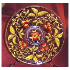 Large Elegant Gold and Red Cherries Goofus Glass Plate