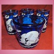 Hazel Atlas Glass Blue Windmill Ice Pail or Bucket and Three Glasses