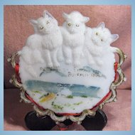 Westmoreland Pan American Expo Milk Glass Plate Three Cats